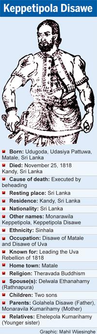 Keppetipola Disawe, proclaimed national hero, posthumously