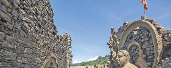 DROUGHT OUTING: The temple out in all its glory despite the crumbling walls