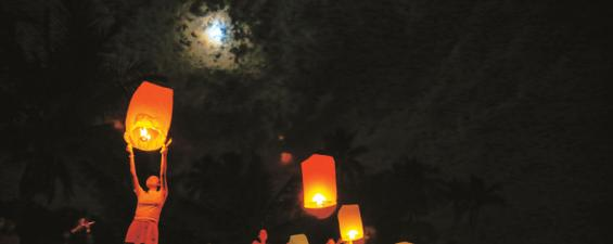 Sending traditional Chinese lanterns