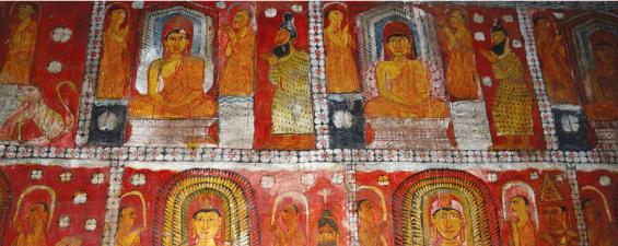 Kandyan period murals adorn the walls of the cave