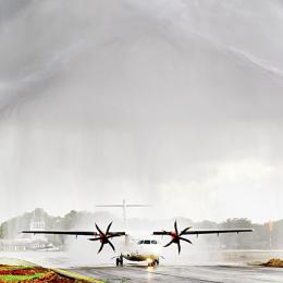 An Indian Alliance Air aircraft gets a water salute as Jaffna International Airport in northern Sri Lanka is reopened in Jaffna on October 17, 2019. - The British-built facility was initially a World War II staging post and later used as a regional civil aviation facility, but was shut for commercial airlines for decades due to the drawn-out Tamil separatist war in the region between 1972 and 2009. (Pix: Ishara S. Kodikara / AFP)