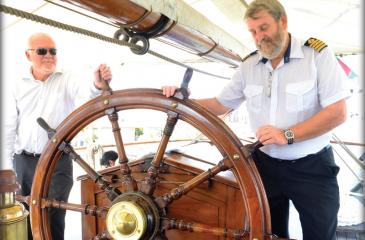 The Norwegian vessel SS Sørlandet, the world's oldest full-rigged ship, docked at the Colombo Port last week. Here Ambassador of Norway to Sri Lanka and the Maldives, Thorbjørn Gaustadsaether (left) and the captain of the ship, Odd Nordahl Hansen inside the ship. The Ambassador hosted lunch for the participants of the Norwegian Maritime Conference on Friday.