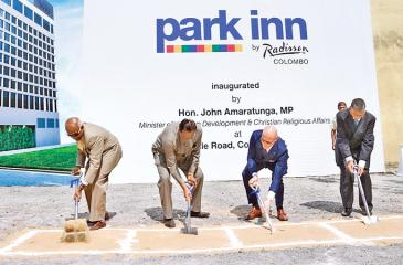 The ceremonial ground-breaking for Park Inn by Radisson by the Minister of Tourism Development and Christian Religious Affairs John Amaratunga, President, Asia Pacific of the Carlson Rezidor Hotel Group, Thorsten Kirschke, Chairman Anil Amarasuriya and Managing Director of Sofia Hospitality (Pvt) Ltd., S.R. Gnanam.