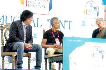 Ashok Ferrey moderating a session between Indian authors Tabish Khair and Manju Kapur