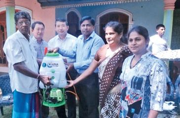Donation of power sprayers for pest control