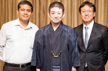 Director, Zero Plus, Keiichiro Yatomi flanked byDirector, Erathna Power Company, Prabath de Alwis (on left) and Director, TAD Lanka Investments, Toshiaki Tanaka.