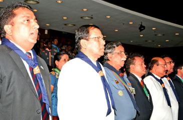 President Maithripala Sirisena with Chief Scouts  Commissioner Dr. Nimal de Silva and Education Minister Akila Viraj Kariyawasam.Pic: Sudath Malaweera