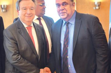 Foreign Minister Managala Samaraweera with UN Secretary General