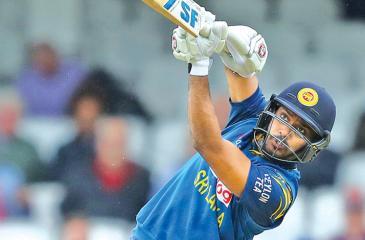 Sri Lanka A opener Danushka Gunathilaka lofts down the ground in his unbeaten knock of 121 against England Lions in the second unofficial ODI at Rangiri Dambulla Stadium yesterday.