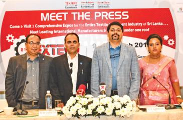 The head table at the media briefing. PIC: SARATH PIERIS.