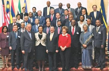 Minister Rishad Bathiudeen (centre-second row from bottom) at the inaugural Commonwealth Trade Ministers Meeting in London