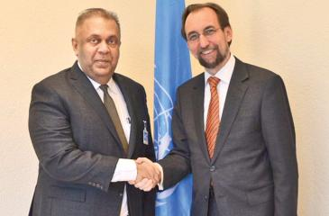 Foreign Affairs Minister, Mangala Samaraweera greets United Nations High  Commissioner for Human Rights, Prince Zeid Ra'ad al-Hussein in Geneva on the sidelines of the 34th Session of the UNHRC early this month.