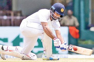 Dimuth Karunaratne gets runs on the leg side during his innings of 126.Pix by Saman Mendis