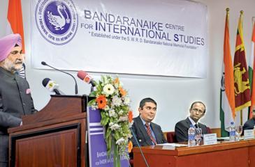 Indian High Commissioner to Sri Lanka, Taranjith Singh Sandhu making his speech. Pic: Samantha Weerasiri