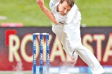 Kiwi paceman Neil Wagner in action in the rain hit first day of the forth test