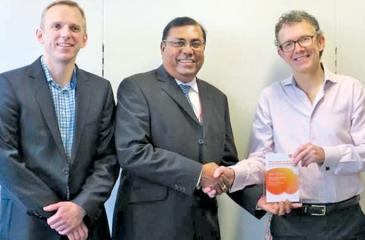 Managing Director Prasanna Karunatilka receives the awards from GSK officials in London.