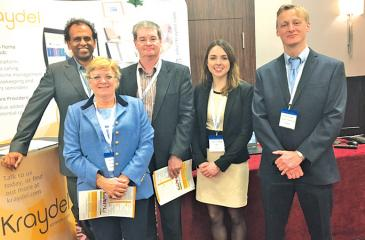 CEO at Mitra Innovation, Dr. Ashok Suppiah and COO, Derek Bell with some of the Kraydel team at DigiHealth UK.