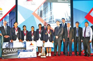 The winning team, Mahamaya Girls College receiving the award