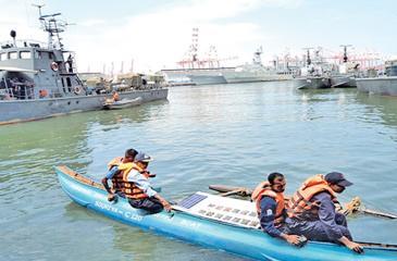 Testing a solar- powered boat