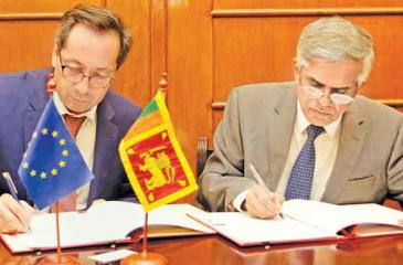 Secretary to the Ministry of Finance, Dr. R. H. S. Samaratunge and Ambassador to Sri Lanka and the Maldives for the Delegation of the  European Union, Tung Lai Margue sign the agreement.