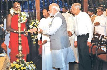 Indian Prime Minister Narendra Modi takes part in religious ceremony to mark the Vesak Festival in Colombo last week
