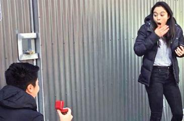 Michael Juan pops the question to his girlfriend after the SAPOL roadside stop.  Facebook: Michael Juan