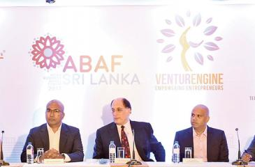 The head table: Program Manager of Aavishka, Heena Khushalani, Chairman of Lankan Angel Network, Dumith Fernando, Chairman of Asian Business Angel Forum, Jordan Green, Managing Director of BOV Capital, Prajeeth Balasubramaniam and Director of Orion City, Jeevan Gnanam.
