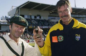 Former Australian captain Steve Waugh and former coach John Buchanan with the Ashes after wining a Test series