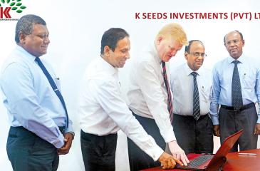 Launch of the corporate website of K Seeds Investments. From left: Non-Executive Director M. S. I. Peiris, Independent Non-Executive Director Channa de Silva, Managing Director/Chief Executive Officer, R. S. W. Senanayake, and Independent Non-Executive Directors S. Jeyavarman and H. M. Hennayake Bandara.