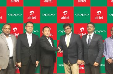 At the signing of the agreement. From left: Managing Director Singhagiri (Pvt) Ltd., Mano Marasinghe, Brand Manager, Arron Yao, CEO of Oppo Lanka (Pvt) Ltd,Tom Zou, CEO, Bharti Airtel Lanka, Jinesh Hegde, Chief Marketing Officer Chandrashekhar Singh and - Head of Data and Roaming of Bharti Airtel Lanka, Channa Munasinghe.