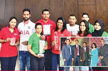 From left: CEO, AIA, Pankaj Banerjee, Deputy CEO Upul Wijesinghe, Director Operations, Kelum Senanayake and Director, HR, Chaturi Munaweera with the award.
