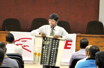 The road safety awareness program being conducted at the BOI auditorium in Katunayake.