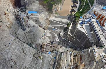 Preparatory work for the Baihetan hydropower station, slated to be the world's second largest, is shown in Yunnan and Sichuan provinces on July 27.