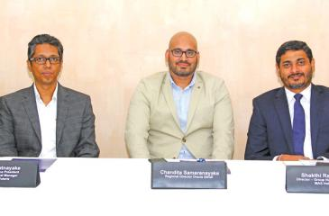 From left:  Executive Vice President, CIO and General Manager, Virtusa Polaris,Madu Ratnayake; Regional Director, Oracle SAGE, Chandita Samaranayake and Director, Group Human Resources, MAS Holdings Shakthi Ranatunga at the media briefing.