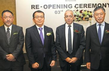 Development Strategies and International Trade Minister, Malik Samarawickrama, Japanese Ambassador, Shinsuke Sugiyama and senior officials of Mitsui Company at the Mitsui Company launch in Colombo  Pix by Nissanka Wijeratne