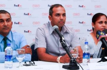 Chamila Bandara, (right) General Manager/COO Mountain Hawk Express(Pvt) addressing the media also in the picture are form left Avancka Herath, Vice Captain Royal Colombo Golf Club, Kumudu Gunasekera Vice  President AmCham Sri Lanka