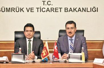 State Minister of International Trade, Sujeewa Senasinghe with Minister of Customs and Trade of Turkey,  Bulent Tufenkci