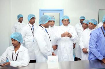 President Maithripala Sirisena at the opening of the Navesta Pharmaceuticals manufacturing plant in Horana recently.