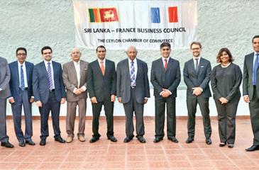 From left: Rasangika de Silva (Secretariat), Rukmal Wijesinha (Noyon Lanka), Nilantha Fernando (Delmege Forsyth), Ikram Ghazali (CMA-CGM Lanka), Dilipan Tyagarajah (Alstom), Godfrey Aloysius (Free Lanka Trading Company), Senake Amerasinghe (Carmart Limited), Asanka Ratnayake (Hayleys Advantis), Ambassador Jean-Marin Schuh, Michelle Pinto (Infotechs), Samantha Rajapaksa (Associated Motorways), Hugues Reydet, Economic Counsellor, Embassy of France in Sri Lanka.