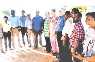 Officials from EU and UNOPS who attended the handover ceremony including, Libuse Soukupova, Head of Development Cooperation of the European Union, Sudhir Muralidharan, Head of Support Services, UNOPS Sri Lanka, Xavier Lamberd, Secretary, Mannar Urban Council and M.A.J. Thuram, Regional Assistant Commissioner of Local Government.