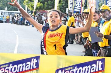 11.2 km Mini Marathon Girls winner R. D Kalpani at the finish line