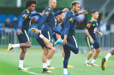 Brazil's Neymar (right)  at  a practice session