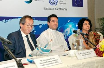 From left: Tun Lai Margue, Ambassador of the European Union to Sri Lanka, Sujeewa Senasinghe, State Minister of International Trade and Sonali Wijeratne, Director General of Commerce, Department of Commerce at the head table.