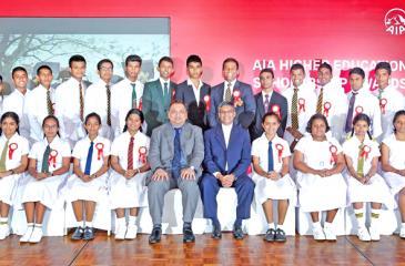 Scholarship winners with AIA CEO Pankaj Banerjee and Chief Guest Deepal Sooriyaarachchi