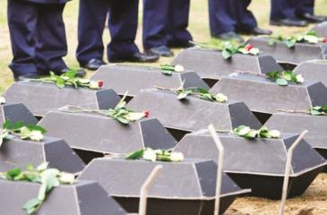 The coffins carrying the remains of 77 unknown German soldiers from WWII are seen during a reburial ceremony at Germany's largest military cemetery in the east German town of Halbe on Nov. 4, 2011. (Pic: Patrick Pleul, AFP/Getty Images)