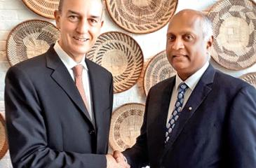Timothy Wright - General Manager of Shangri-La Hotel Colombo on left and Indrajith Fernando - President Rotary Club of Colombo East