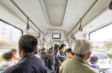 The train, which could carry 300 people, identifies the pavement and has various sensors to collect travel information