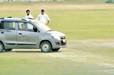 A man drove onto the pitch to halt the Ranji Trophy game at Palam grounds.