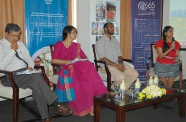 The panel (from left)    University of Colombo Department of Sociology Professor Siri Hettige, Institute of Policy Studies (IPS) Researcher Dr. Bilesha Weeraratne, farmer from Morawaka, Mithra Kulatunga and the moderator WFP Anusara Singhkumarwong