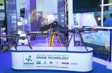 Drone display at Techno 2017 by Mobitel